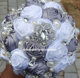 GINA ~  Satin Roses Brooch Bouquet or DIY KIT
