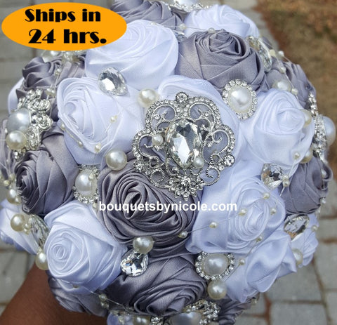 Silver& White Deluxe Satin Roses Brooch Bouquet 24HR-GINA