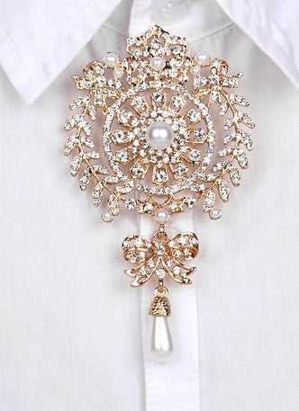 Large Gold Silver Brooch Rhinestone Crystal BR-007