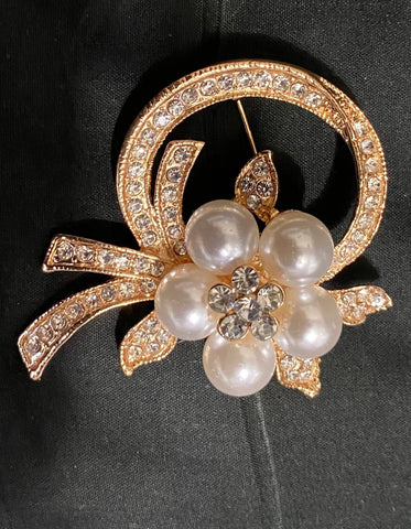 Rose Gold  Flower Pearl Rhinestone Brooch BR-013