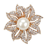 Brooch Gold and Silver Pin Rhinestone Crystal BR-986