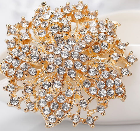 Rhinestone Flower Brooch Gold or Silver BR-772