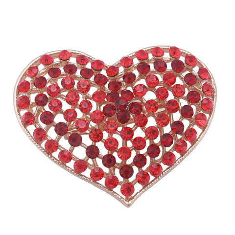 Brooch Red Heart Pendant Pin Rhinestone Crystal BR-993