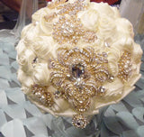LYDIA ~ Ivory & Gold Satin Rose Brooch Bouquet BCUST