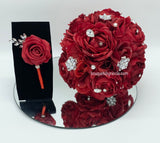 NEEKA ~ Silk Roses Customized Brooch Bouquet