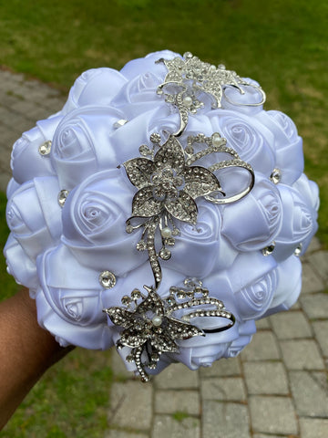 SHERRI~EMR Satin Rose Brooch Bouquet or DIY KIT