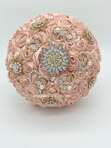 PEACHY Deluxe Roses Brooch Bouquet or DIY KIT