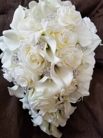 Silk Rose Calla Lily Brooch Bouquet Cascade Waterfall - TAJHIA