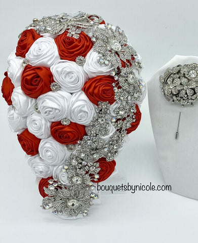 MACY II ~ Cascade Waterfall Deluxe Satin Rose Brooch Bouquet