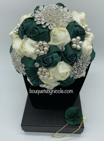 DEONA ~ Satin Roses Brooch Bouquet or DIY KIT