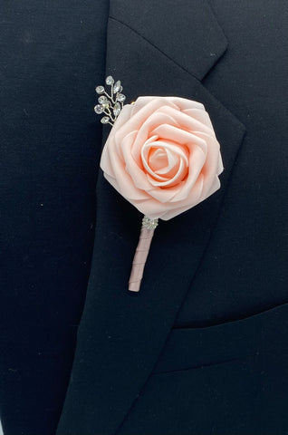 Real Touch Rose Boutonnières Pin Formal Wear Wedding Prom RT-BL1
