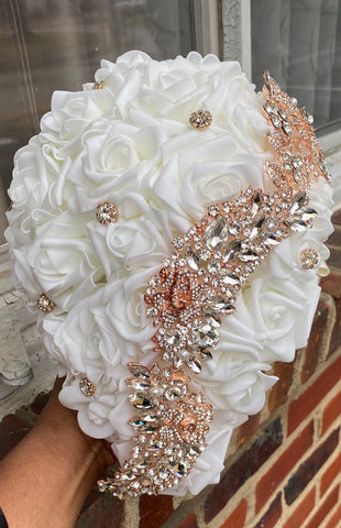 DIY Kit JANA ~ Cascade Real Touch Roses-Rose Gold Brooch Bouquet JANA