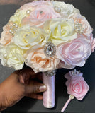 PINKY -  Ivory Light Pink Silk Roses Brooch Bouquet