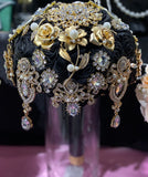 SIRI Black & Gold Satin Roses Brooch Bouquet or DIY KIT
