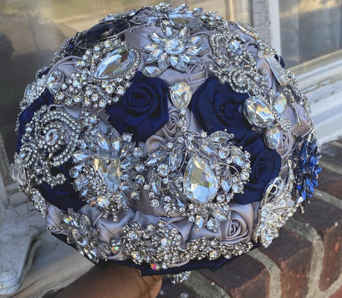 BETHIE - Navy Silver Satin Roses Brooch Bouquet or DIY KIT