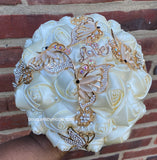ANA -Butterflies & Roses  EMR Satin Rose Brooch Bouquet or DIY KIT