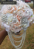 Blush n PEARLS ~ Ivory Silk Rose Brooch Bouquet