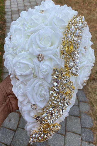 JANAI ~ Ivory & Gold Cascade Real Touch Roses Brooch Bouquet