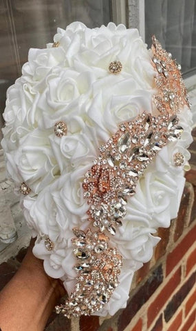 JANAI ~ Ivory & Rose Gold Cascade Real Touch Roses Brooch Bouquet