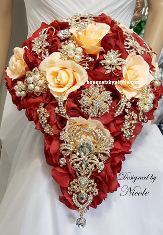 JAN ~ Red Customized Cascade Silk Rose Brooch Bouquet