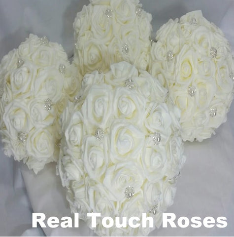 10 pcs. Real Touch Roses Brooch Bouquet Collection