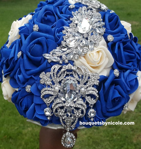 KENDRA ~ Real Touch Roses Brooch Bouquet or DIY KIT