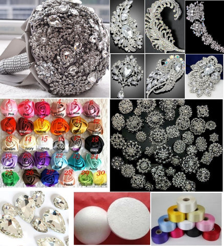 "DIY Kit Silver 10"" Brooch Bouquet Free Holder KIT-506"