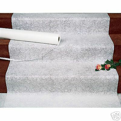White Wedding Lace Aisle Runner with Suresta Adhesive l Heavy duty l Tear resistant l Pull String