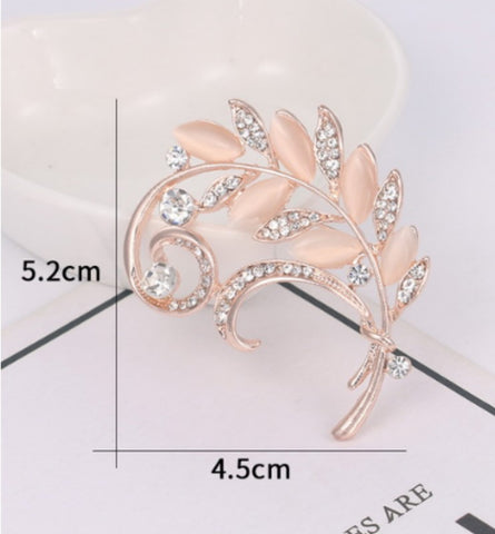 Gold Rhinestone Flower Leaf Brooch BR-20
