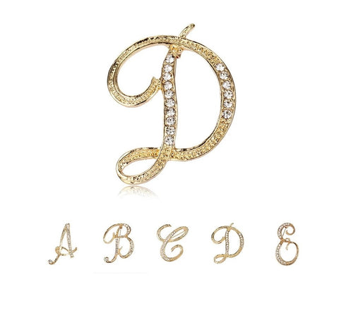 English Letters Fashion Crystal Rhinestone A To Z Initial Letters Brooch Pins in Gold Color Plated