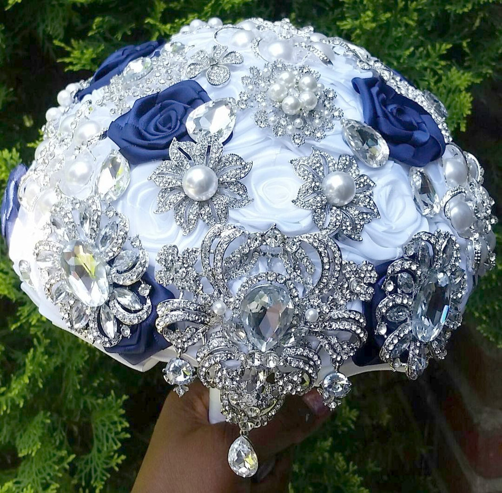 LIA~Satin Rose Brooch Bouquet or DIY KIT - Bouquets by Nicole