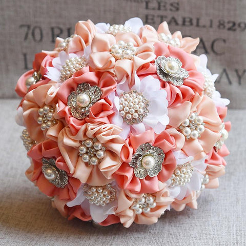 Coral Ivory Peach Roses Brooch Bouquet BCUST- SADIE