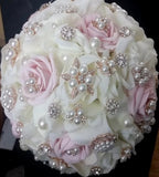 ROMANCE/MARI~EMR-Real Touch & Silk Rose Brooch Bouquet