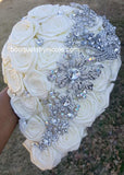 NETTI ~ Cascade Waterfall Satin Roses Brooch Bouquet or DIY KIT