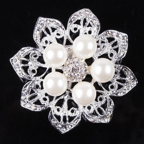 Brooch Clear Rhinestone Pearls Crystal BR-026