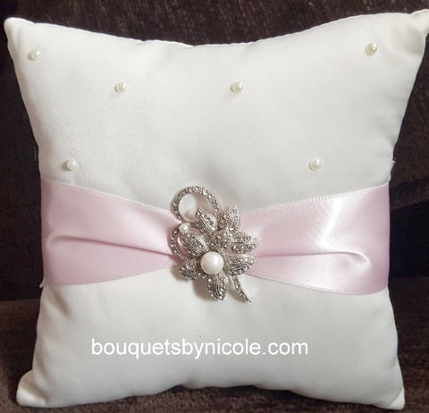 Customized Brooch Wedding Ring Pillow CBP- 004
