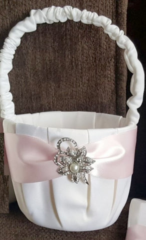 Customized Brooch Wedding Flower Girl Basket Pillow Guest Book Pen CBP- 004