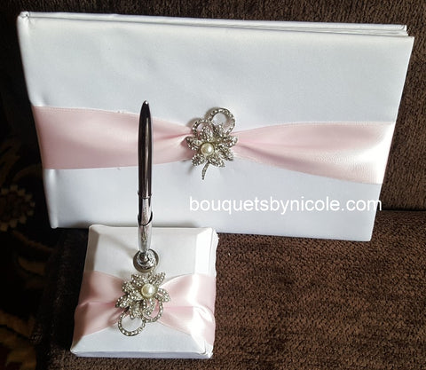 Customized Brooch Wedding Guest Book Pen Set CBP- 004