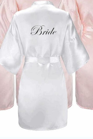 Bridesmaids Satin Robes Wedding Party Gifts Pink Black