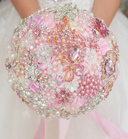 PINKY ~ Luxury Satin Rose Brooch Bouquet BCUST