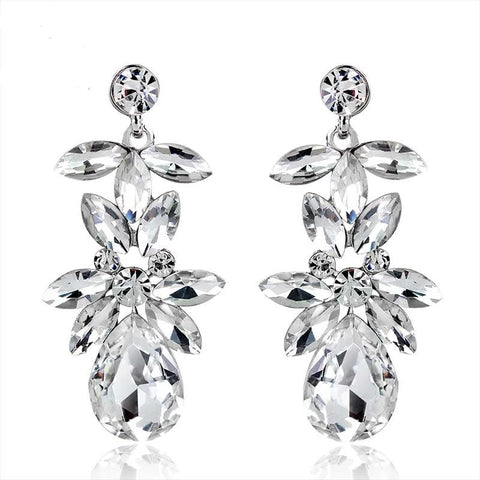TRZ-11 Diamante Crystal Earrings Wedding Jewelry