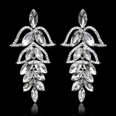 TRZ-002 Chandelier Crystal Bridal Hanging Drop Silver Earrings