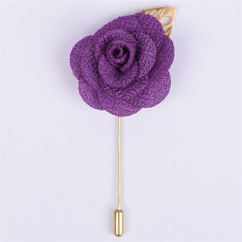 Fabric Rose Flower Boutonniere, Lapel Pin Formal Wear Wedding Prom BOUT- XH011