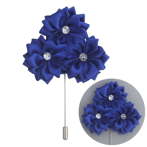 Fabric Rose Flower Boutonniere, Lapel Pin Formal Wear Wedding Prom BOUT-XH1806