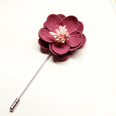 Fabric Rose Flower Boutonniere, Lapel Pin Formal Wear Wedding Prom BOUT-996