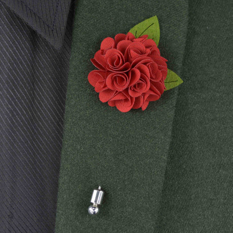 Fabric Rose Flower Boutonniere, Lapel Pin Formal Wear Wedding Prom BOUT-999