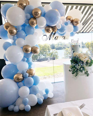 Balloon Garland Kit Blue White Gold Balloon Arch Wedding Bridal Shower Birthday Party Baby Shower Decoration.