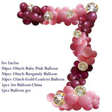 110pcs/Set Baby Pink Burgundy Balloons Garland Arch Kit Confetti Birthday Wedding Baby Shower Anniversary Party Decoration