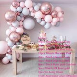 90 pcs Macaron Balloons Arch Kit Pastel Grey Pink Balloons Garland Rose Gold Confetti Wedding Party Decor Baby Shower Supplies