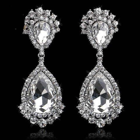 TRZ-006 Elegant Teardrop Crystal Bridal Silver Long Drop Earrings Wedding Jewelry Accessories
